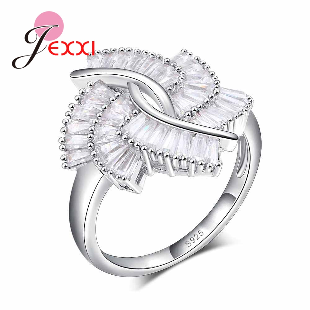 JEXXI 925 Sterling Silver Finger Ring For Lady CZ Zircon Luxury Princess Wedding Engagement Ring Filled-zirconia Cross Anillos
