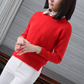 Korean Style Solid Color Pullover Jumper For Women Long Sleeve Crochet Tunic Sweater