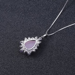 Image 4 - GEMS BALLET Natural Pink Chalcedony Gemstone Pendants 925 Sterling Silver Necklace for Women Wedding Engagement Fine Jewelry