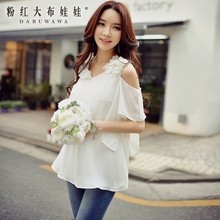 dabuwawa shirt female 2017 new white sexy slim flare sleeved fashion vintage romantic blouse women pink doll