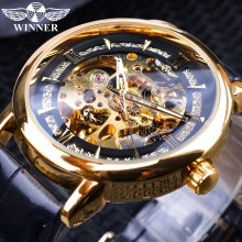 Winner 2019 Royal Golden Luxury Gear Movement Design Open Work Mens Automatic Fashion Wrist Watch Top Brand Male Skeleton Watch winner classic design transparent case golden movement inside skeleton wrist watch men watches top brand luxury mechanical watch