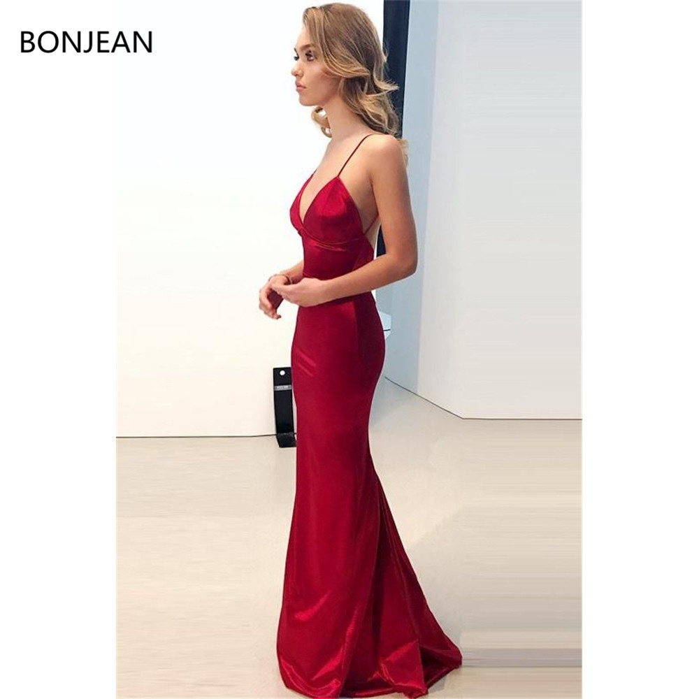 2019 Mermaid Sexy Sheath Deep V-Neck Long Evening Long Elastic Silk Like Satin Off Shoulder Evening Gown(China)