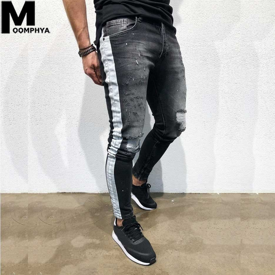 Moomphya 2019 New Side Stripes Denim Ripped Jeans For Men Streetwear Hip Hop Skinny Jeans Men Distressed Holes Black Jeans
