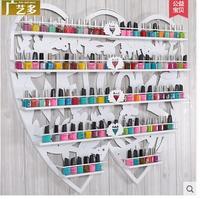 Nail art wall hang creative double heart shaped nail polish shelf display