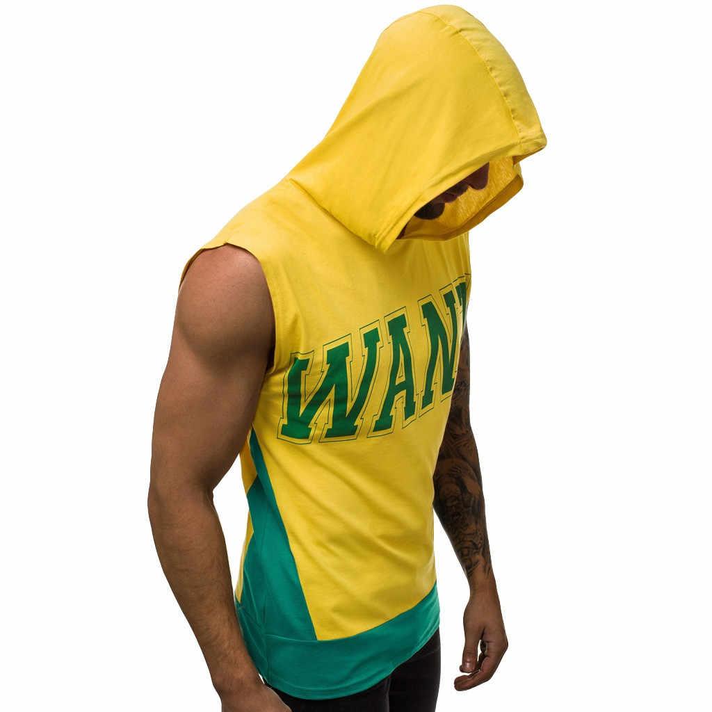 Pria Tanpa Lengan Tanktops untuk Anak Laki-laki Binaraga Pria Musim Panas Fashion Hoodie Cetak Patchwork Nyaman Rompi Atasan S-2XL