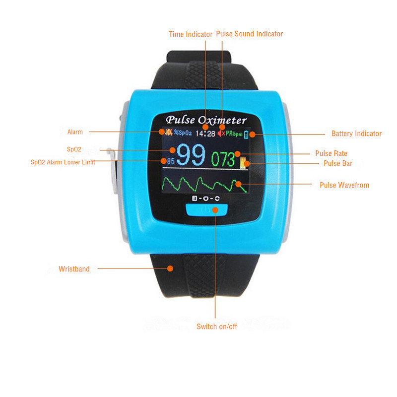 Watch type Wrist Finger Tip Pulse Oximeter 24 hours Pulse Rate Spo2 Monitor oximetro with Alarm for adult baby kids CMS50F multifunction digital pulse rate calories counter wrist watch orange 1 x 2032