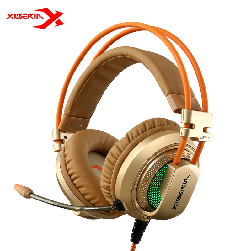 Original XIBERIA V10 Gaming Headphones 3.5mm+USB With Microphone LED Light Stereo Sound Over Ear Headsets For Laptop PC Gamer original xiberia v5 gaming headphone super bass stereo usb wired headset microphone over ear noise lsolating pc gamer headphones
