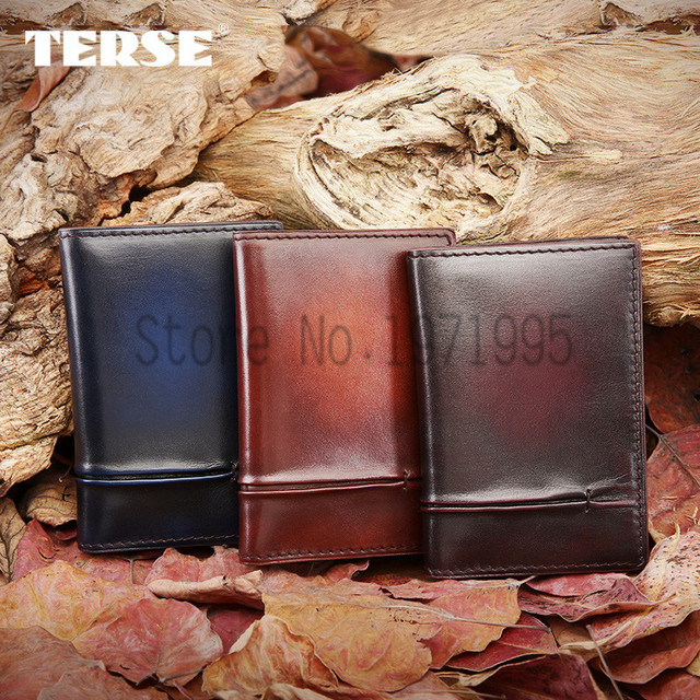 TERSE_Bifold Wallet Men Italian Calfskin Business Card Holder Card Wallet Credit Card Holder OEM Service handmade mens wallet