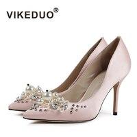 Vikeduo 2018 Горячая Алмаз Роскошные пикантные Танцы модные туфли для свадьбы или вечеринки для дамы натурального шелка Для женщин тонкий высоки