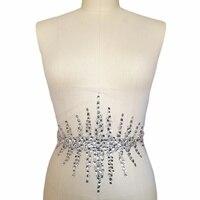 Индивидуальность серебро пришить фиксация бисером Кристальные Стразы для аппликации нашивки отделка для ремешок для свадебного платья 20x33...