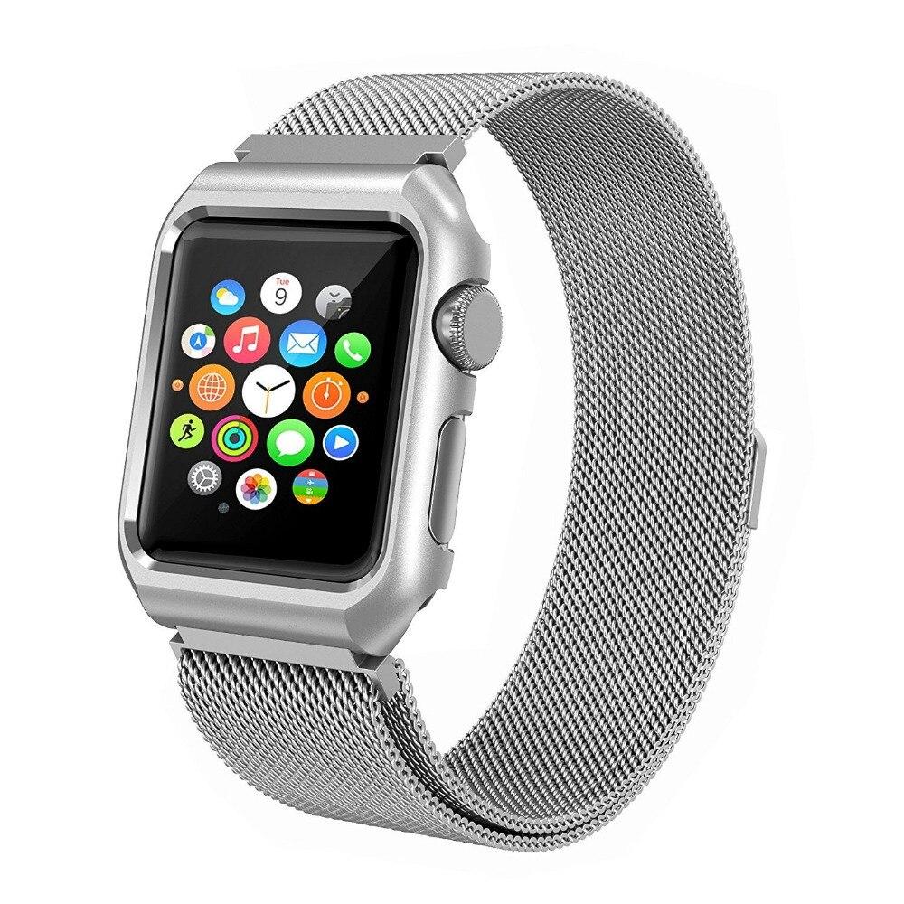 Milanese Loop With Metal Bumper Case für Apple Watch Band Serie 3 2 - Uhrenzubehör - Foto 4