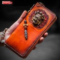ハンドメイド財布男性と女性ロングファスナー財布本革カードホルダーマネー手 bagage クリップ財布