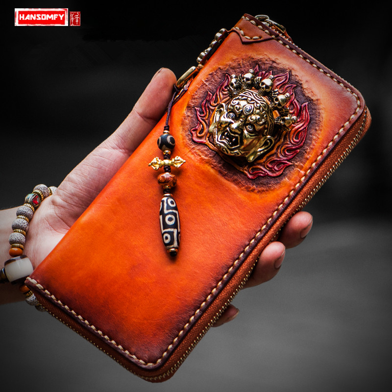 Handmade wallet men and women long zipper wallets genuine leather card holder money hand bagage clip purseHandmade wallet men and women long zipper wallets genuine leather card holder money hand bagage clip purse