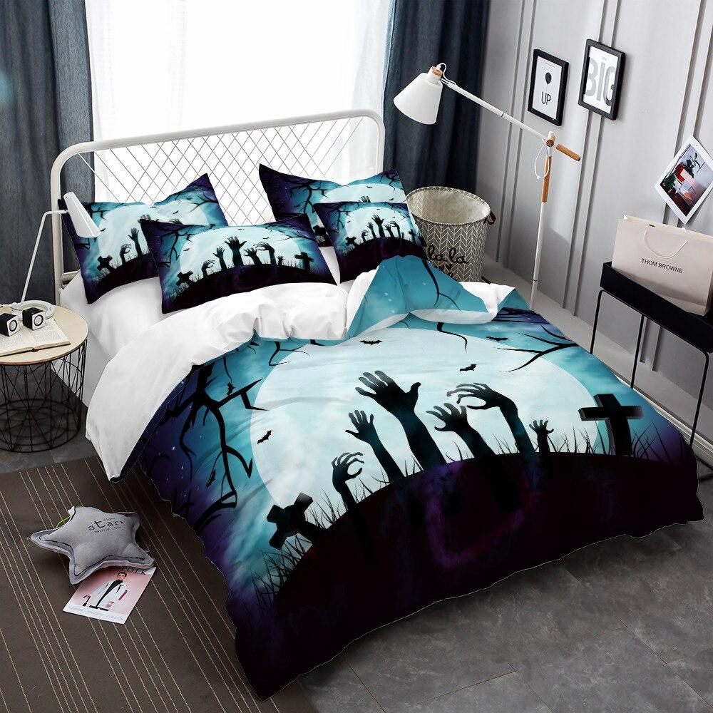 Zombie Bedding Set Halloween Cartoon Ghost Hand Print Duvet Cover Set Dark Blue Moon Night Bedclothes Pillowcase Bed Cover D40    - AliExpress