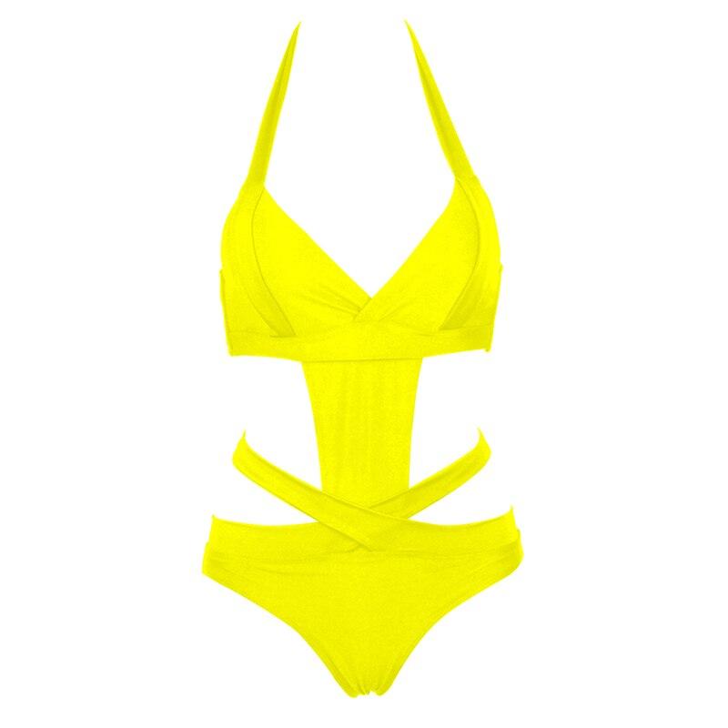 NAKIAEOI 2018 Europe Sexy One Piece Swimsuit Plus Size Swimwear Women Bandage Monokini Swimsuit Bathing Suit Swim Wear Black XXL 5