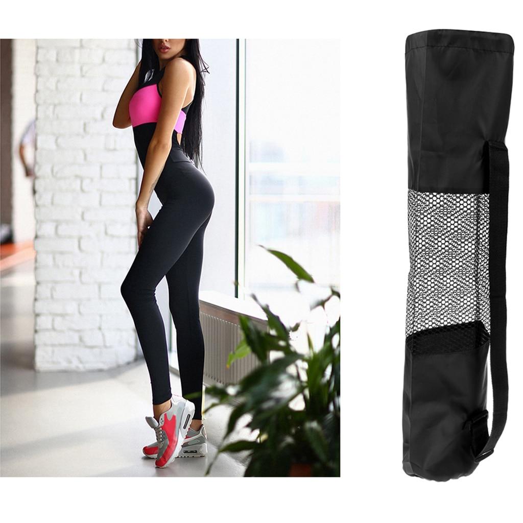 Women Yoga Jumpsuit Fitness Leggings Yoga Mat Carry Bags Mat Carrier Black