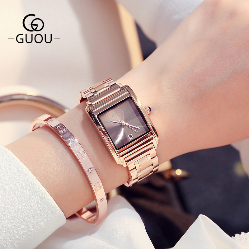 Famous Brand GUOU Luxury Ladies Watch Brand Women Watches Fashion Quartz Wristwatch Montre Femme Clock Female Reloj Mujer 2018 guou brand ladies watch full rose gold steel band high quality quartz wristwatches women watches saat reloj mujer montre femme