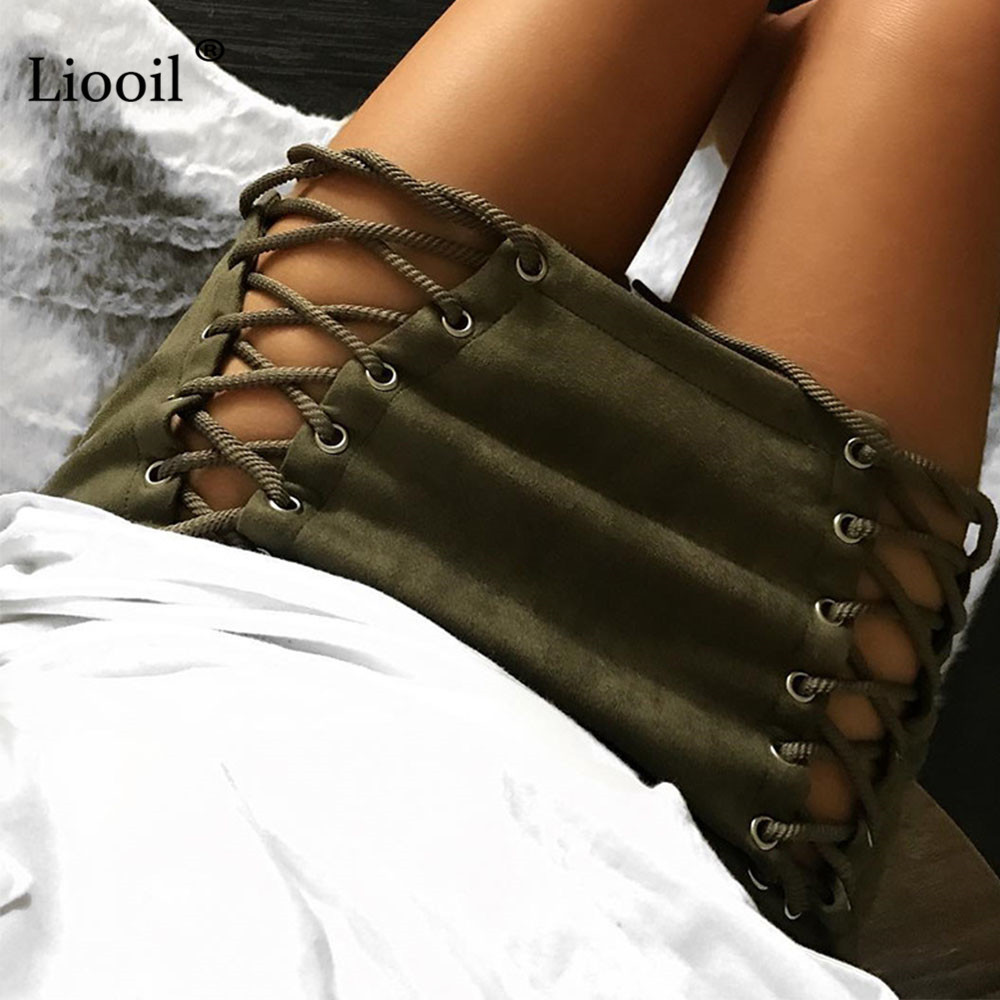 Black Suede Women Skirt Pencil High Waist Autumn Winter Hollow Out Lace Up  Vintage White Sexy Min