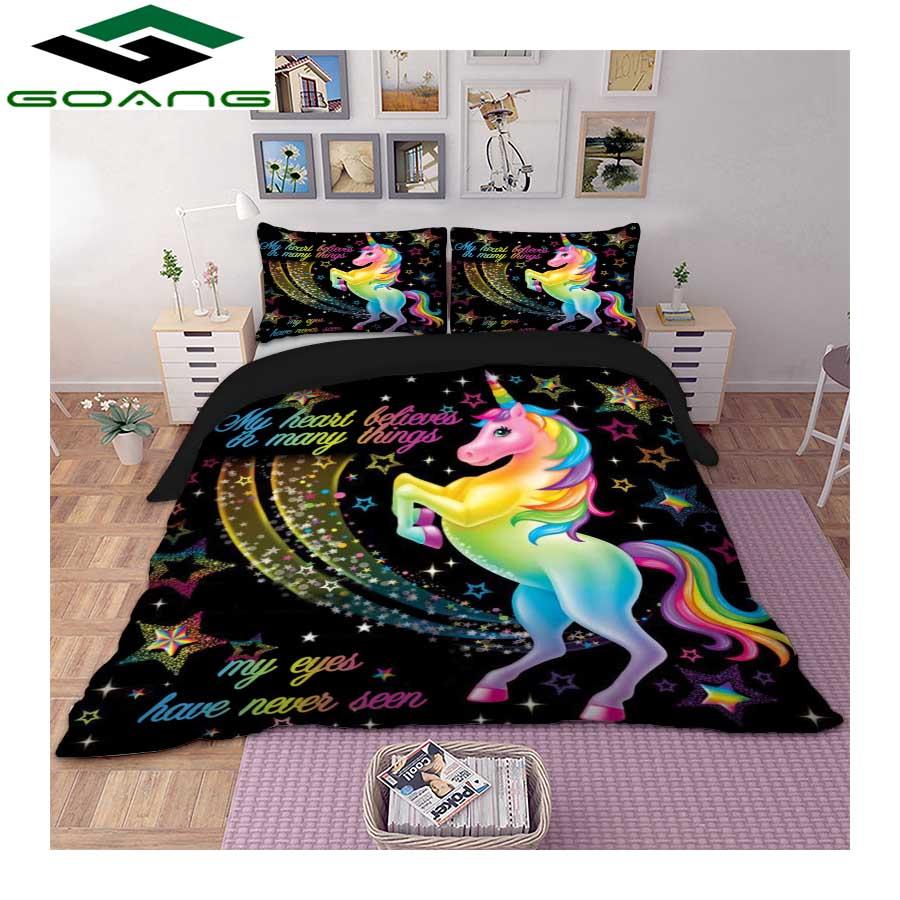 GOANG Unicorns Bedding Set 3d Digital Printing Cartoon Bed Sheet Duvet Cover Pillowcase 3pcs Kids Bedding Set Home Textiles