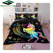 GOANG unicorns bedding set 3d digital printing Cartoon bed sheet duvet cover pillowcase 3pcs kids home textiles