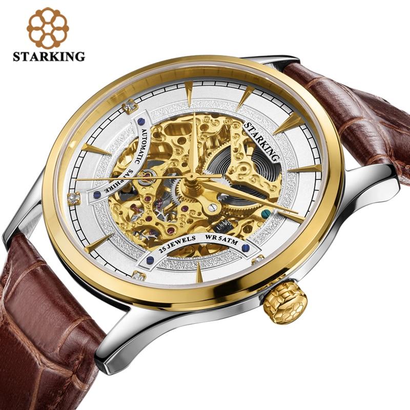 ФОТО STARKING Men Skeleton Automatic Mechanical Luxury Brand Sapphire Two-tone Gold Case Genuine Leather Strap Wristwatch Male AM0185