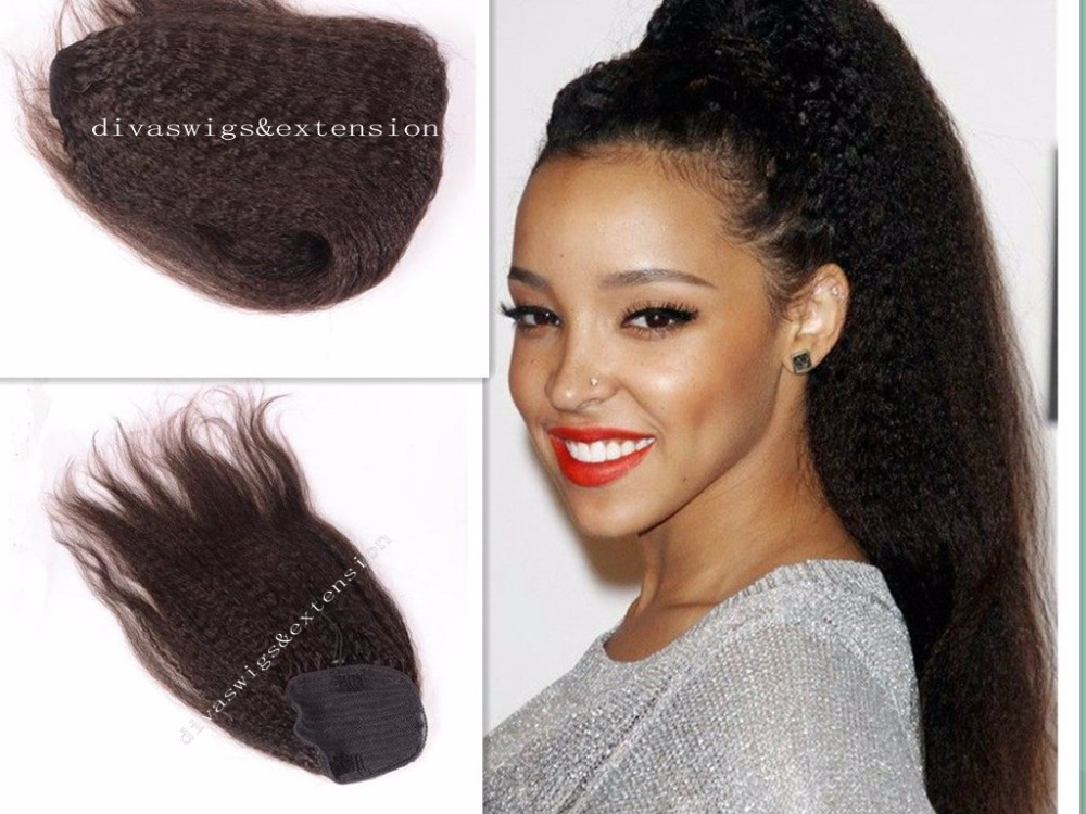 Top Quality Kinky Straight Ponytail Human Hair Virgin Brazilian Human -7791