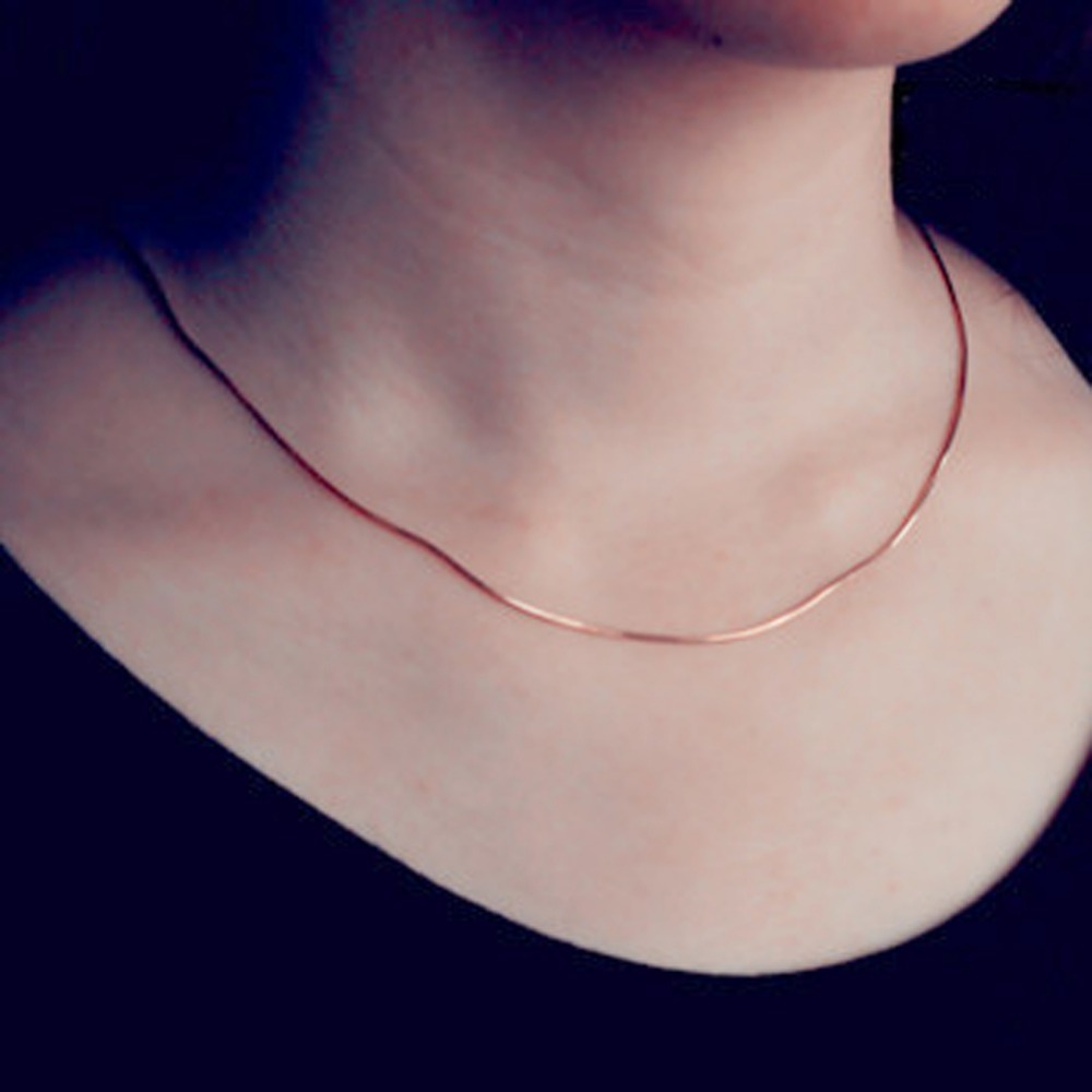 Women Rose gold color Trendy Jewelry Accessories Korean Style 2mm Round Snake Chain Necklace Fine Jewelry