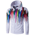 Hot! Autumn New Men Colorful Striped Design Hoodies Long Sleeve With Hood Zipper Design Male Casual Slim Sweatshirt