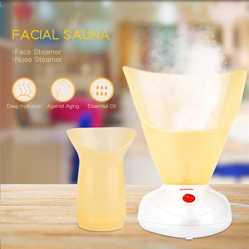 2 in 1 Mini Facial Steamer Machine Hot Mist Warm Steam Moisturizing Face Cleaner Personal Facial Spa Sauna Skin Care Sprayer S50 nano ionic facial mist sprayer hot mist moisturizing cleaning whitening skin humidifier thermal spa face steamer face spa 220v