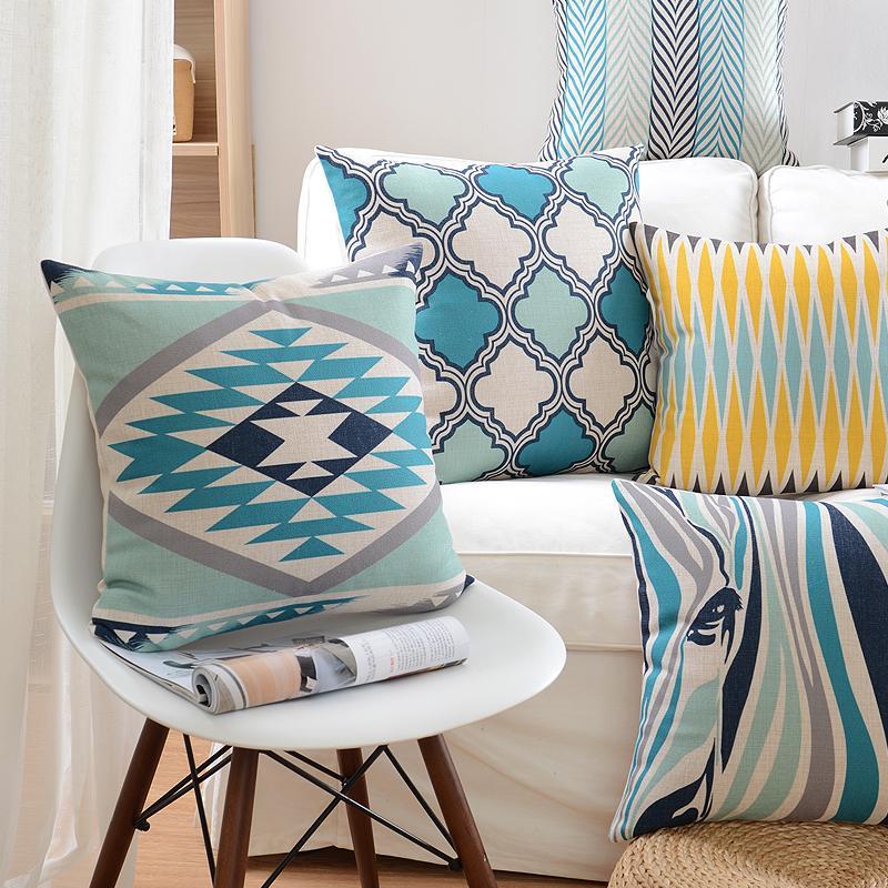 Nordic Стиль Чехлы украшения диванных подушек Синий Геометрический декоративные подушки Обложка белье Чехлы для дивана