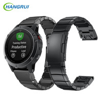 HANGRUI Stainless Steel Strap For Garmin Fenix 5 Watch Band Black Silver Gold Replacement Strap For