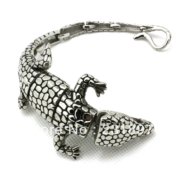 New Arrivals Mens Boys Silver Cool Alligator Crocodile Bangle Bracelet Gift Punk Gothic Stainless Steel Jewelry Factory Price In Chain Link Bracelets From