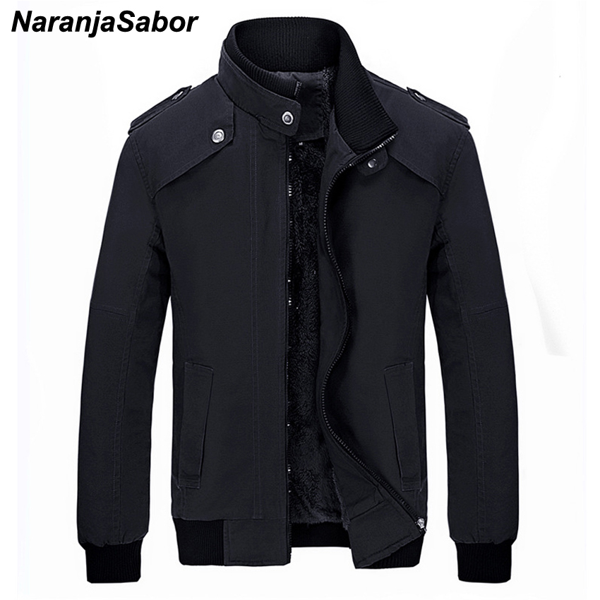 NaranjaSabor Men's Winter Casual   Parkas   Stand Collar Windproof Thermal Coats Slim Fit Spliced Thick Jackets Mens Clothing N416