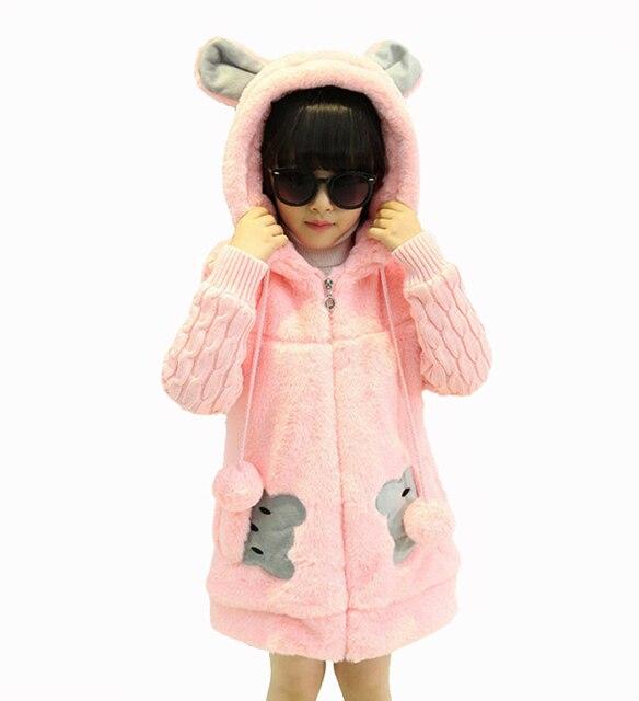2016 Winter Style Girls Kids Hooded Patchwork Long Trench Coat Feminine Children's Printed Korean Fashion Zipper Jackets