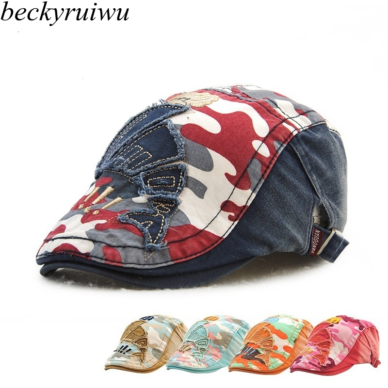 Children Camouflage Newsboy Hats Pure Cotton Patched Peaked Cap Boy ...