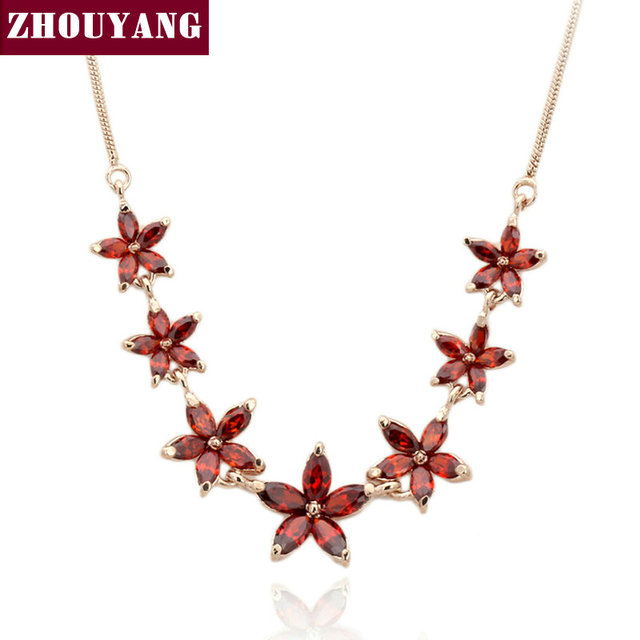 ZHOUYANG ZYN023 Летом Красный 7 Цветок Роуз Позолоченные Мода Подвеска Ювелирные Изделия Сделано с Австрия Кристалл Оптовая