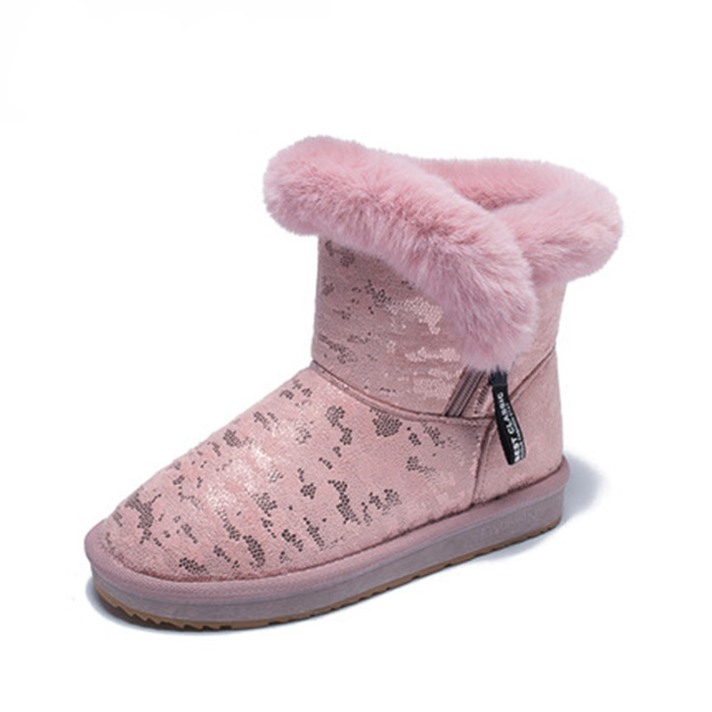 Women Boots 2018 Winter Faux Fur Women Shoes Woman Snow Boots Ankle Warm Flats Fashion Femme Ladies Boot Pink Footwear trendy color block and faux fur design women s snow boots