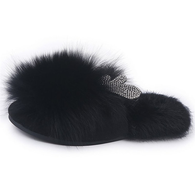 LIN KING Lovely Crystal Deer Ear Winter Slippers Warm Fur Home Indoor Shoes Non Slip Outdoor Slippers Ladies Cotton Flats Shoes in Slippers from Shoes