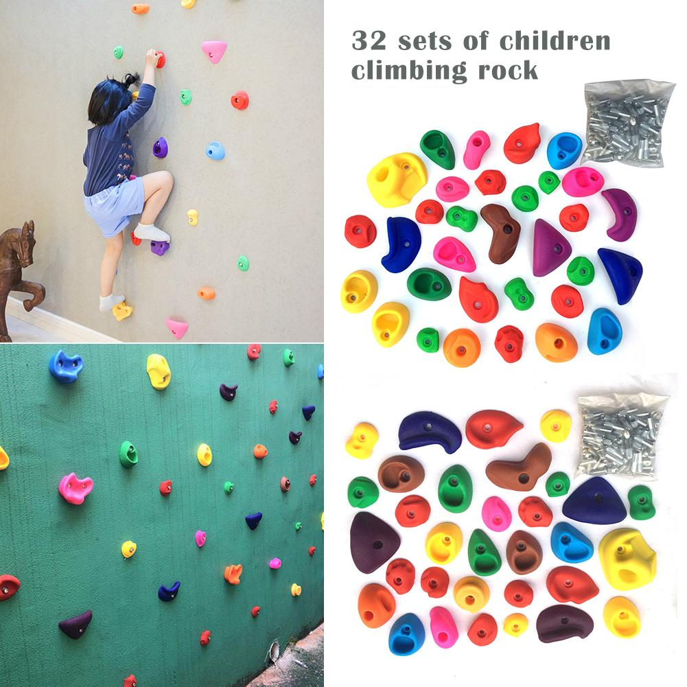 32Pcs Set Climbing Frame Mixed Color Rock Climbing Wall Stones Hand Feet Holds Grip Hardware Kits Children Kids Toys32Pcs Set Climbing Frame Mixed Color Rock Climbing Wall Stones Hand Feet Holds Grip Hardware Kits Children Kids Toys