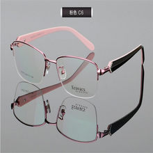 b5a6778d64b6 MONGOTEN Women Fashion Alloy Half Rim Aspheric Optical Eyewear Red Purple  Presbyopia Prescription Goggle Retro Reading Glasses