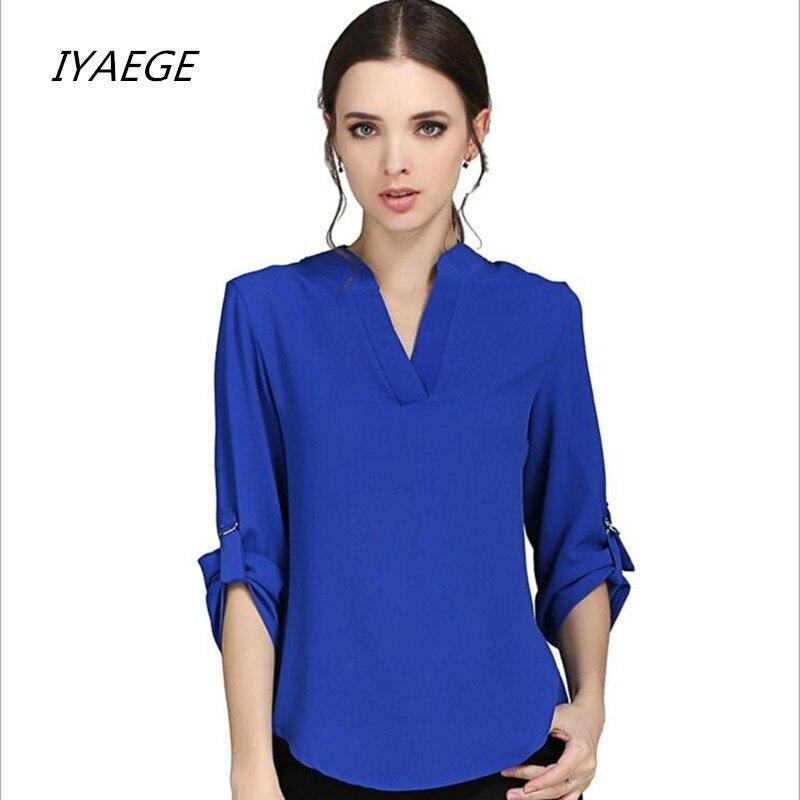 Plus Size Women Clothing New 2019 Spring Summer Women Solid V-neck Fashion Chiffon Cuffed Long Sleeve Casual   Blouse     Shirt   M-5XL