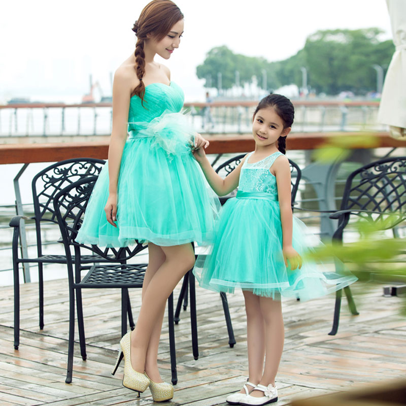mother daughter wedding dresses Green Lace Skirt Clothing Show Birthday Party Dress Fashion Mother and Daughter Princess Dress цены