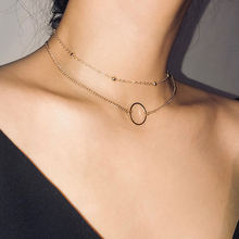 Новинка Трендовое женское ожерелье с маленькими кругами позолоченная