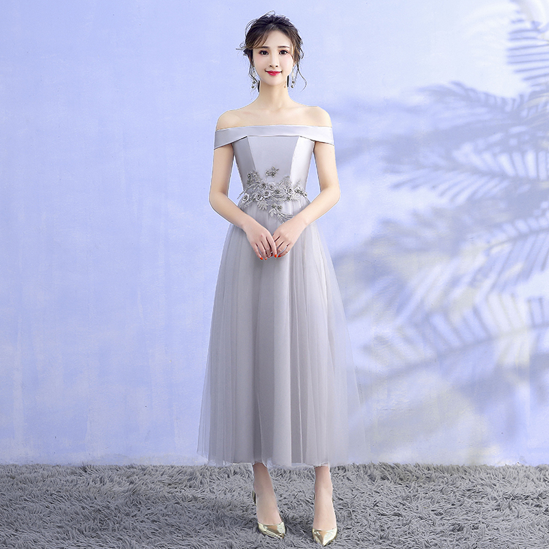 Grey Satin  Embroidery Midi Dress Bridesmaids Dresses Elegant  Woman Dresses For Party And Wedding Dress Back Of Bandage