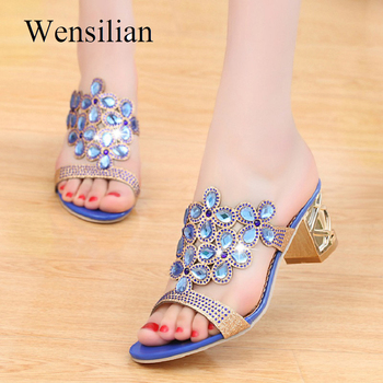 Designer Sandals Women 2018 Ladies Slides Women Slippers Sandals Summer Crystal Shoes Peep Toe Middle Heels Zapatos Mujer