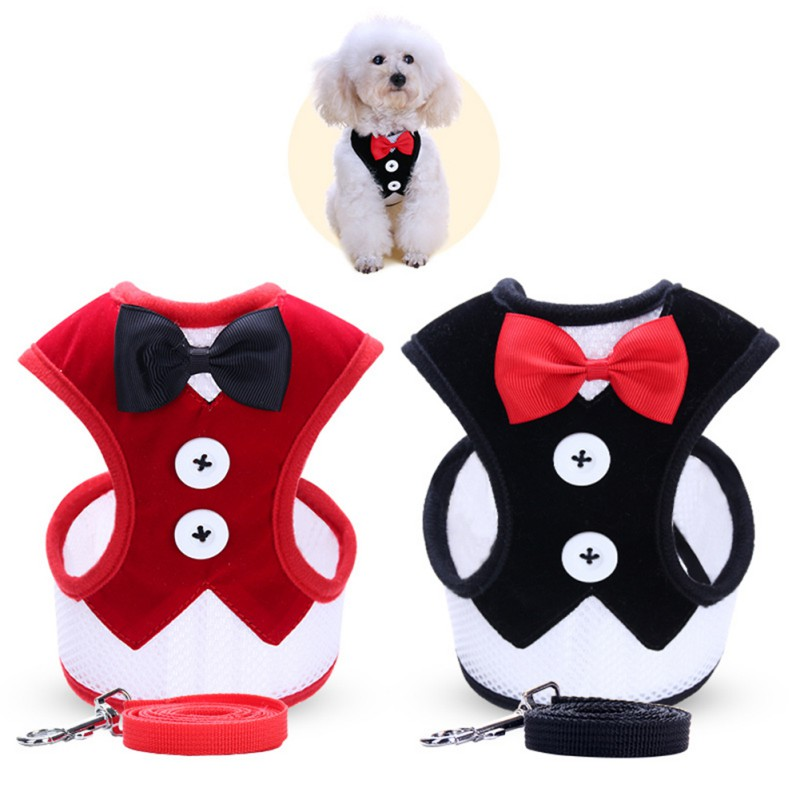 Pet Products Small Dog Clothes Harness Leash Set Pet Accessories Vest Dog Leashes for Easy Walking Patrol Soft Walk Out Harness