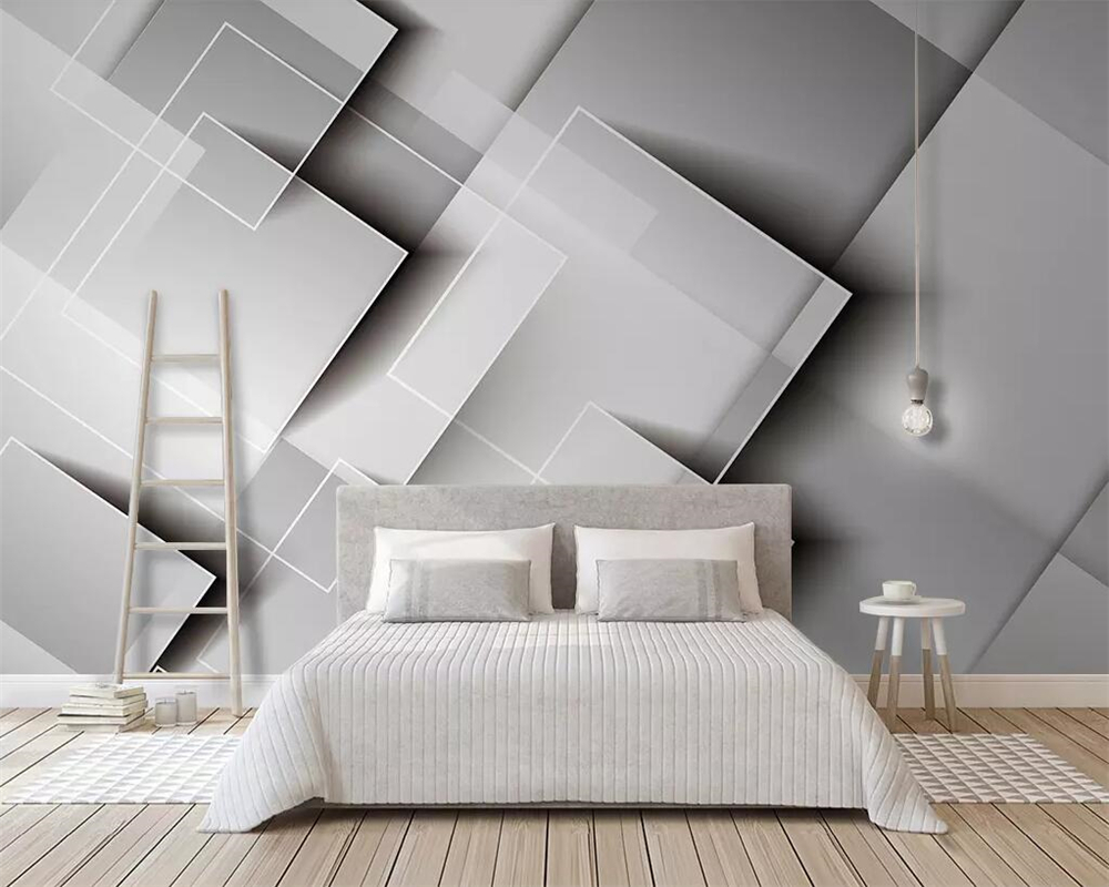 Beibehang Geometric gradient square wallpaper three-dimensional gray  bedroom TV background wall home decoration 3d wallpaper