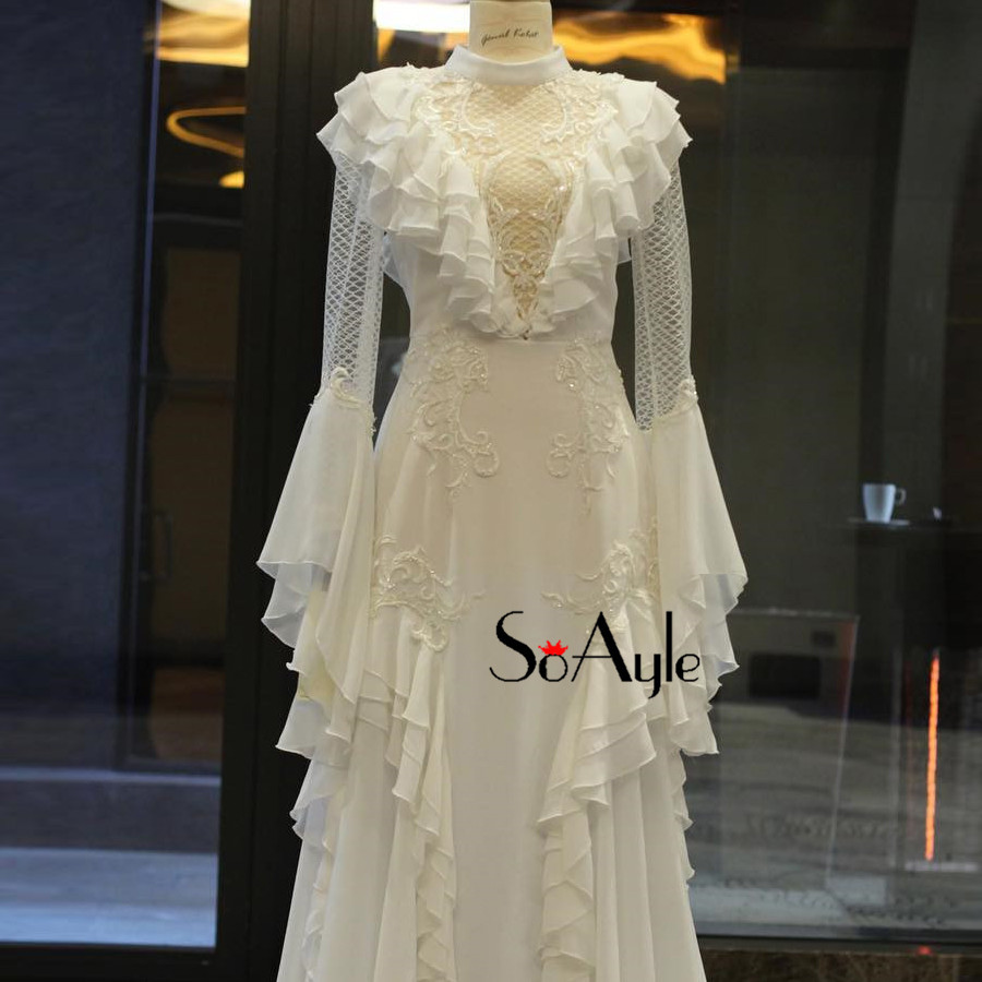SoAyle 2018 High Neck Evening Dresses Long Sleeves Gorgeous Ruffles ... 3f2e41902714