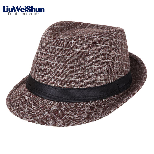 7e2974b19e5 Classic Men Plaid Jazz Fedora Hat,England Gentlemen Sun Hat Panama Trilby  CrushHat Homburg Male Travel Cap Flat Top Fedora Hat