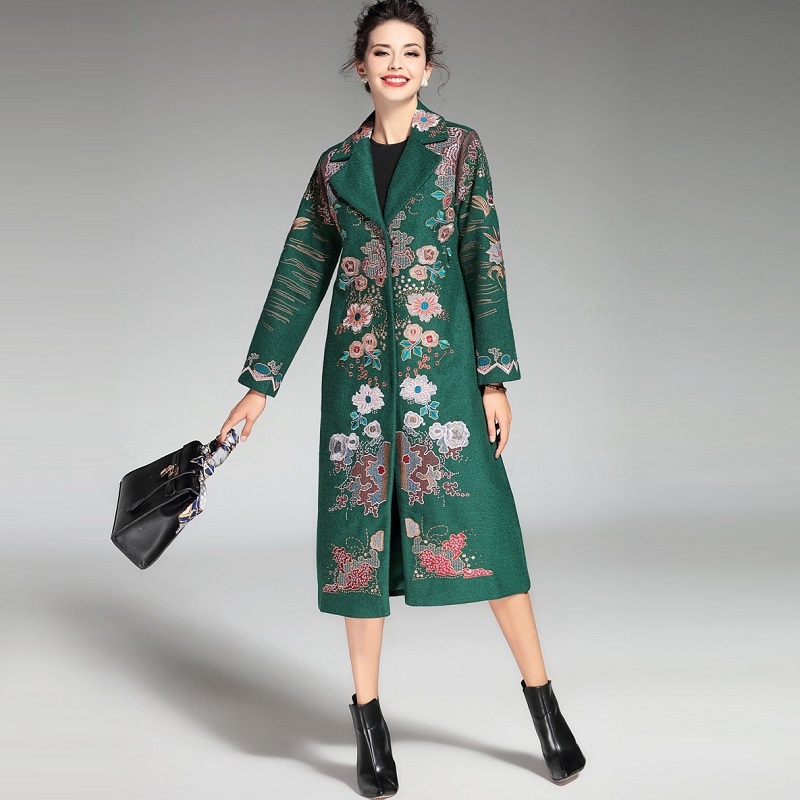 Vestes Outwear Couvert Longue Laine Mélanges green D'hiver Broderie Qualité Bouton red Femmes 2018 Et Luxueux Chaud Marque Xxxl Manteau Top Black wYXxTpPSq0
